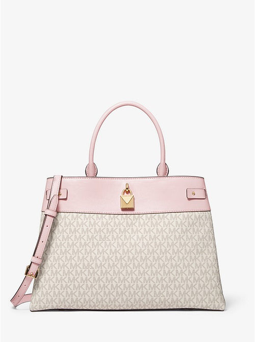 Gramercy Large Logo And Leather Satchel | Michael Kors Style # 35T0GG7S3B Pwd Blush MLT
