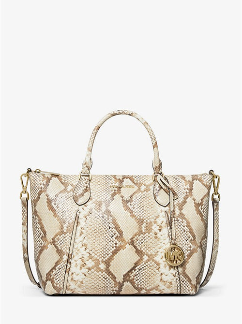 Lenox Large Python Embossed Leather Satchel | Michael Kors Style # 35T0GYZS3G Natural Combo