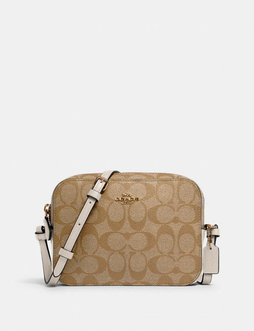 Mini Camera Bag in Signature Canvas COACH Style # 91677 Im/Light Khaki Chalk