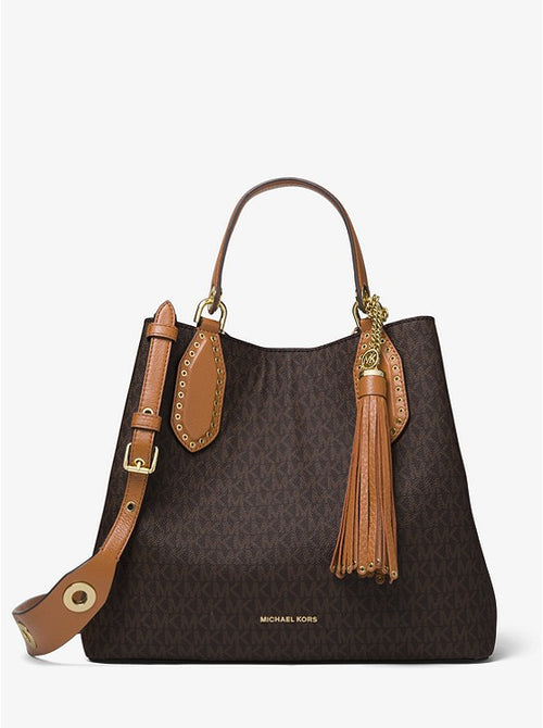 Michael Kors Brooklyn Large Logo Satchel Style # 30F8GBNT3B Brown
