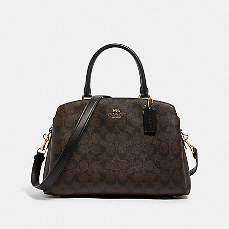 Coach Mini Lillie Carryall In Signature Canvas Style # 91494 Brown Black