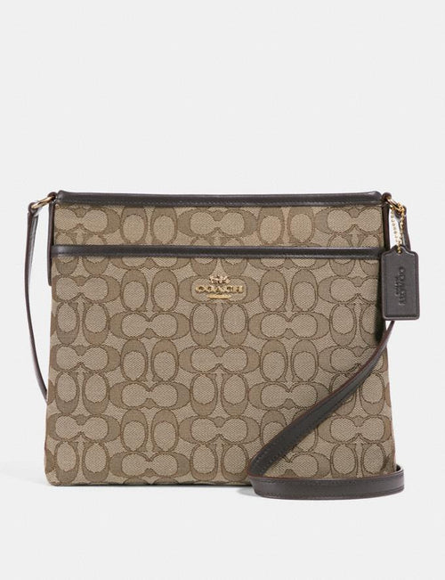 Coach File Crossbody In Signature Jacquard Style # F29960 Khaki/Brown/Light Gold