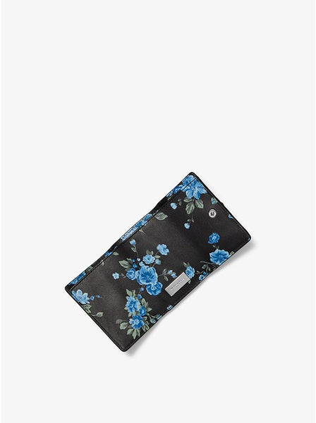 Studded Floral Calf Leather Small Pocket Wallet Style # 31F9PRND1X CORNFLOWER