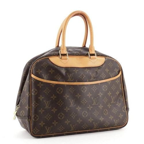 Louis Vuitton Deauville Handbag Monogram Brown Coated Canvas Satchel Item #: 27961720