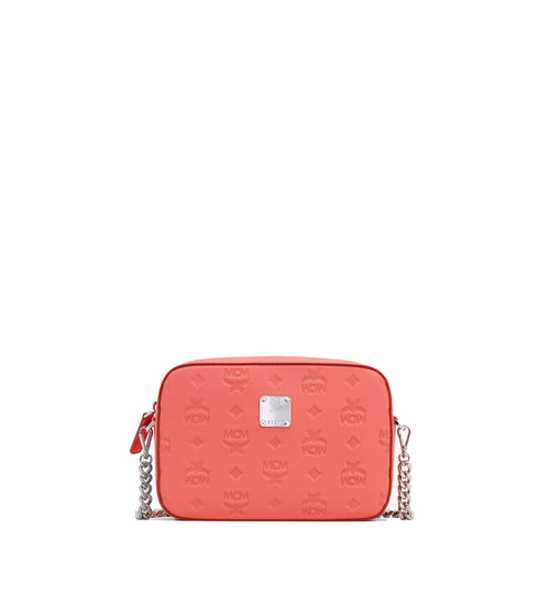 MCM One Size Camera Bag in Monogram Leather Hot Coral Style #: MWRASKM01O3001