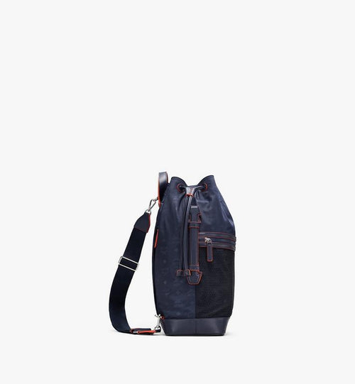 Medium Klassik Drawstring Backpack in Monogram Nylon Navy Blue MCM Style # MMDASKC04VA001 Blue|Navy Blue
