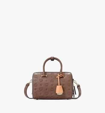 Essential Boston Bag in Monogram Leather MCM Style # MWBAASE05N5001 Brown | Chestnut MONOGRAM LEATHER