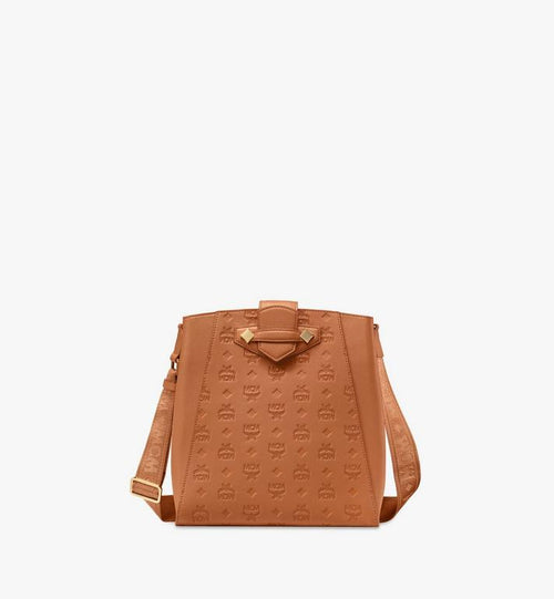 Small Essential Bucket Bag in Monogram Leather Cognac MCM Style # MWDASSE04CO001 Cognac|Cognac