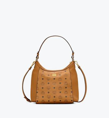 Medium Luisa Hobo in Visetos Leather Block Cognac MCM Style # MWHAALZ01CO001 Cognac | Cognac VISETOS