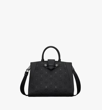 Medium Essential Tote in Monogram Leather Black MCM Style # MWTASSE16BK001 Black | Black