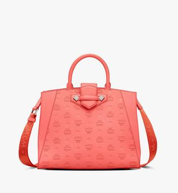 Medium Essential Tote in Monogram Leather Hot Coral MCM Style # MWTASSE16O3001 Red|Hot Coral