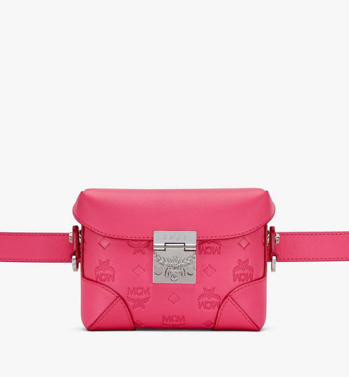 N/S Soft Berlin Belt Bag in Monogram Leather MCM Style # MWZ9SBF26QE001 Pink | Teaberry