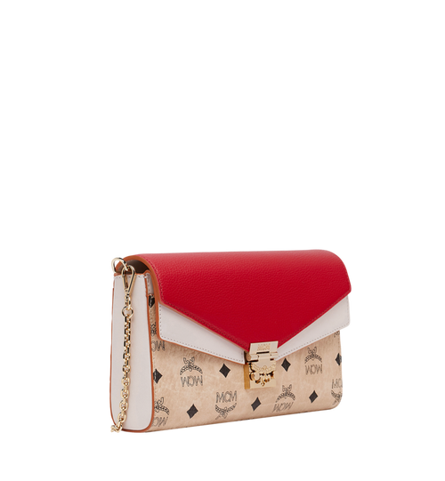 Millie Flap Crossbody in Visetos Leather Block MCM Style # MYZ9SME80IZ001 Beige | Beige & Ruby Red VISETOS COLORBLOCK LEATHER