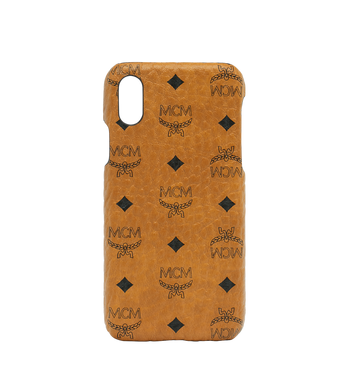 iPhone X Case in Visetos Original MCM Style # MZE8AVI97CO001 Cognac|Cognac