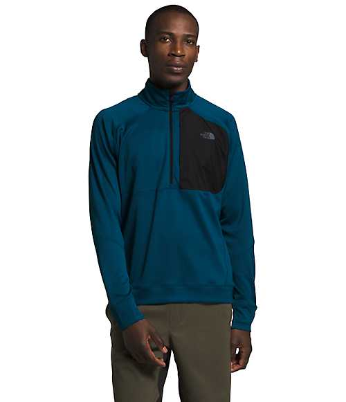 Men's Essential ¼ Zip Mid-Layer | The North Face Style # NF0A4CLK-O1 BLUE WING TEAL