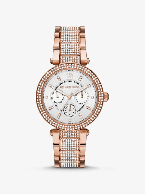 MICHAEL KORS Oversized Parker Pavé Rose Gold-Tone Watch  MK6760