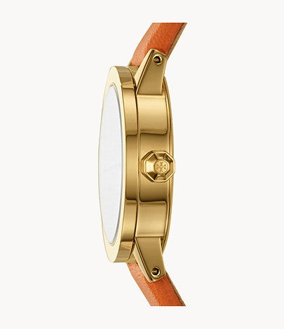 The Gigi Gold-Tone and Orange Leather Watch Tory Burch Style # TBW2000