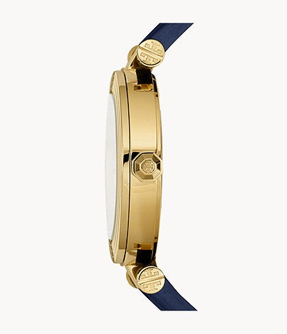Tory Burch Classic T Three-Hand Navy Leather Watch Style # TBW9001 NAVY