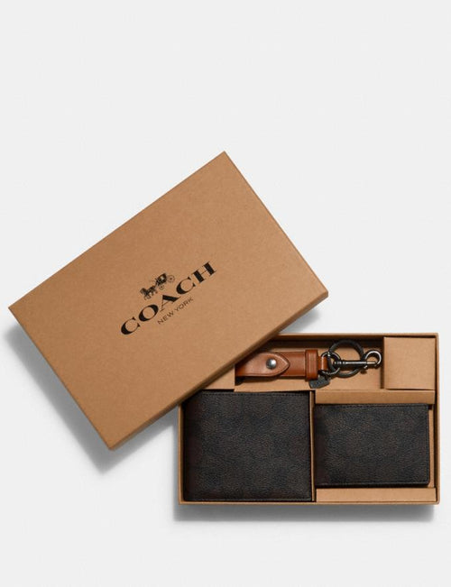 Boxed 3-In-1 Wallet Gift Set in Signature Canvas Coach Style # C1510 Qb/Mahogany Vintage Ember