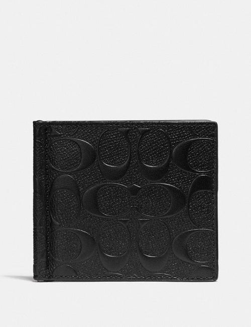 Money Clip Billfold In Signature Leather Style No. F26107 Black