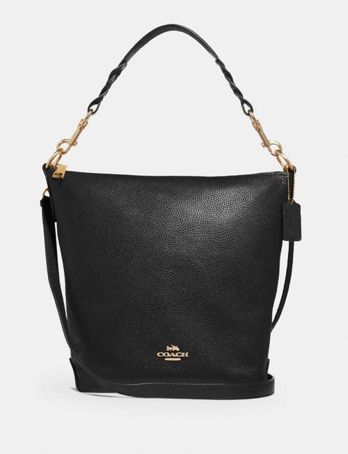 HALLIE SHOULDER BAG IN SIGNATURE CANVAS COACH Style # F31507 Black/Light Gold