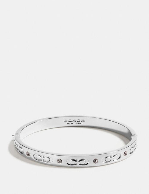 Coach Kissing C Hinged Bangle Style # F59083 Silver