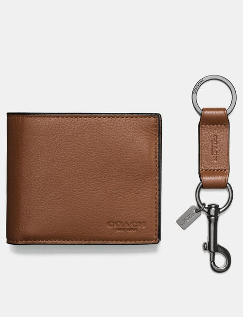 Coach Boxed Compact Id Wallet With Trigger Snap Key Fob Style # F64118 DARK SADDLE