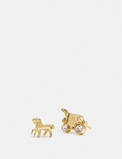 CoachHorse And Carriage Stud Earrings Style # F77695 Gold