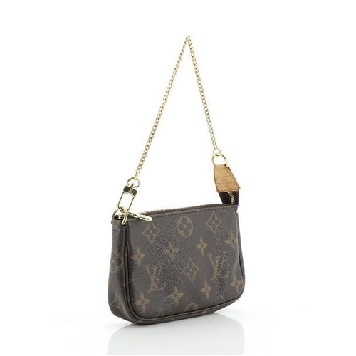 Louis Vuitton Pochette Accessoires Monogram Canvas Mini Brown Coated Satchel Style # 28163464