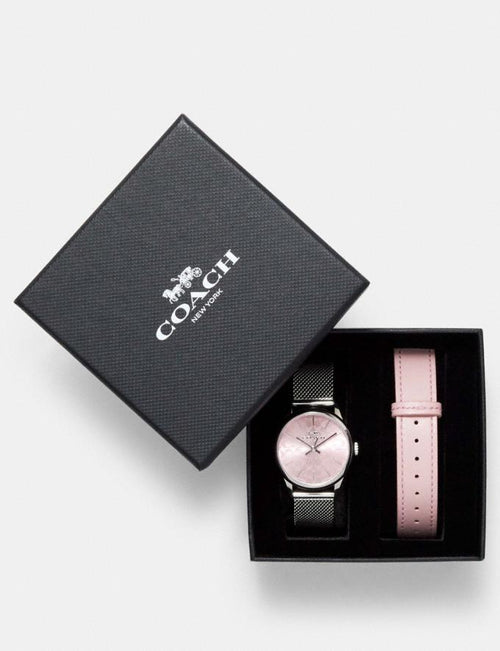 Boxed Ruby Watch Gift Set, 32mm Coach Style # W1677 Stainless Steel