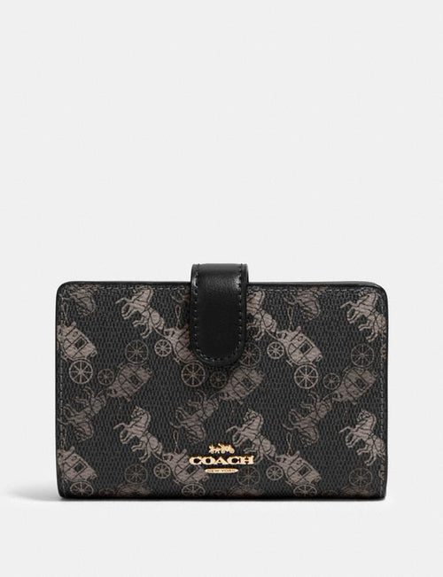 Coach Medium Corner Zip Wallet With Horse And Carriage Print Style # 87936 Black Grey Multi