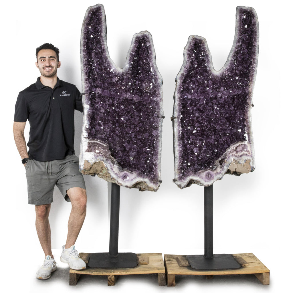 Kalifano Amethyst Natural Brazilian Amethyst Geode Pair on Custom Stand - 80 in / 809 lbs BAG111000.001