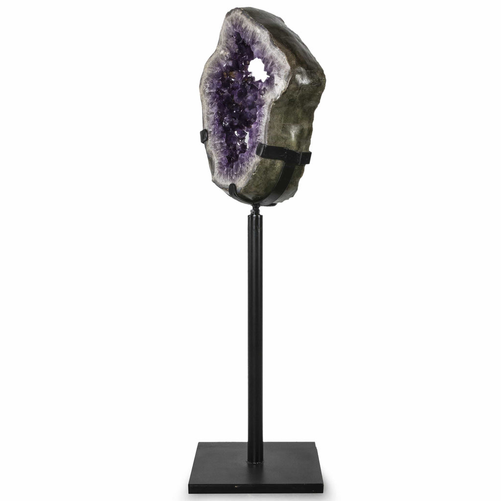 Kalifano Amethyst Natural Brazilian Amethyst Geode Ring on Custom Stand - 58 in / 165 lbs BAG32000.001