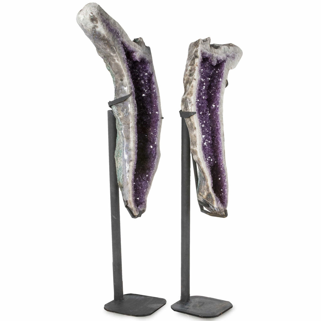 Kalifano Amethyst Natural Brazilian Amethyst Geode Wing Pair on Custom Stand - 72 in / 566 lbs BAG125000.001