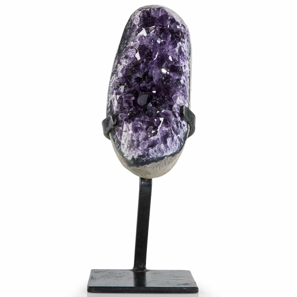 Kalifano Amethyst Natural Uruguayan Amethyst Geode on Custom Stand - 11 in / 2.49 kg UAG1000.020