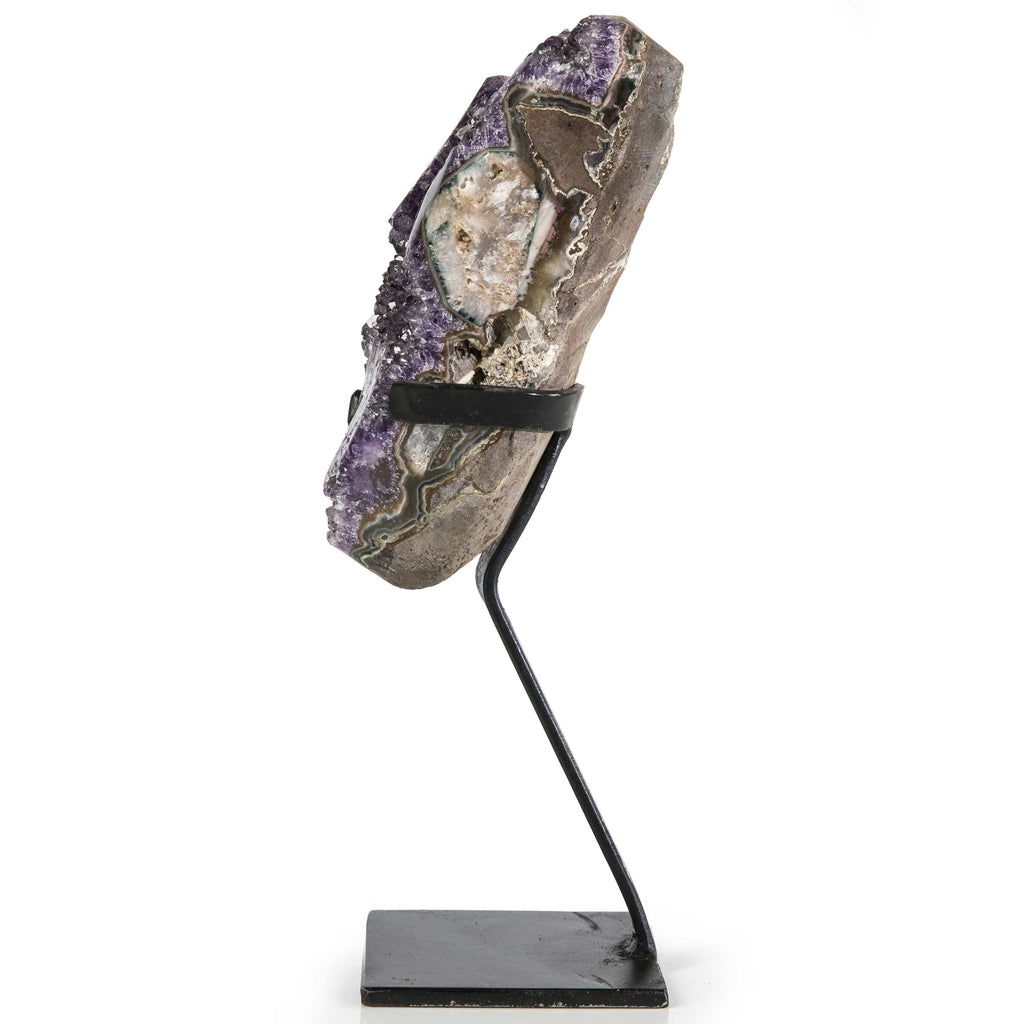 Kalifano Amethyst Natural Uruguayan Amethyst Geode on Custom Stand - 12 in / 2.21 kg UAG900.008