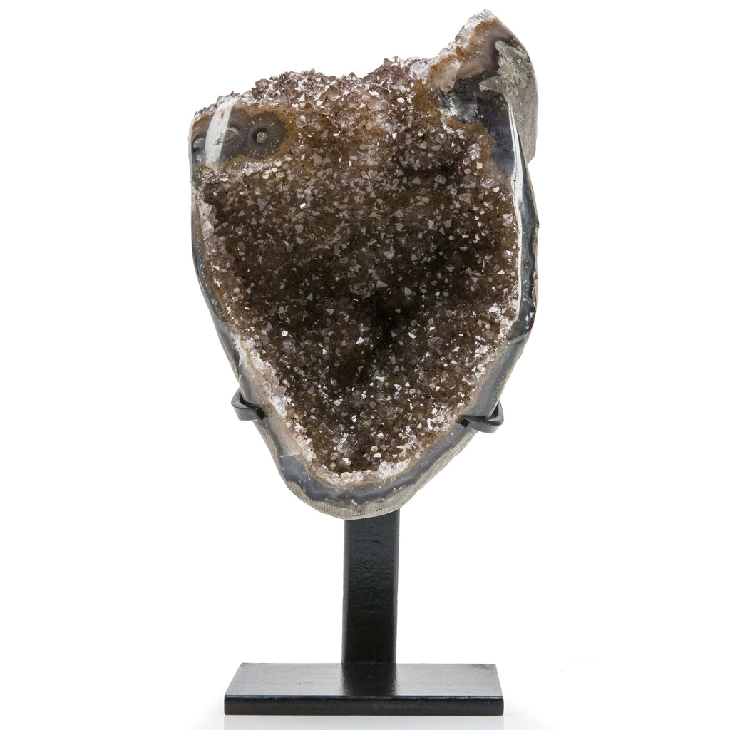 Kalifano Amethyst Natural Uruguayan Amethyst Geode on Custom Stand - 8.5 in / 1.66 kg UAG700.003