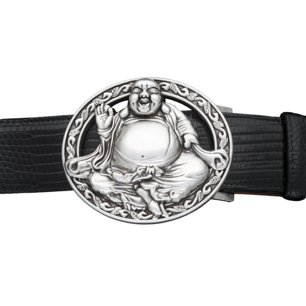 Kalifano Buckles KB40-2189AS - Kalifano Buckle 40mm Buddha Bless- Antique Silver KB40-2189AS