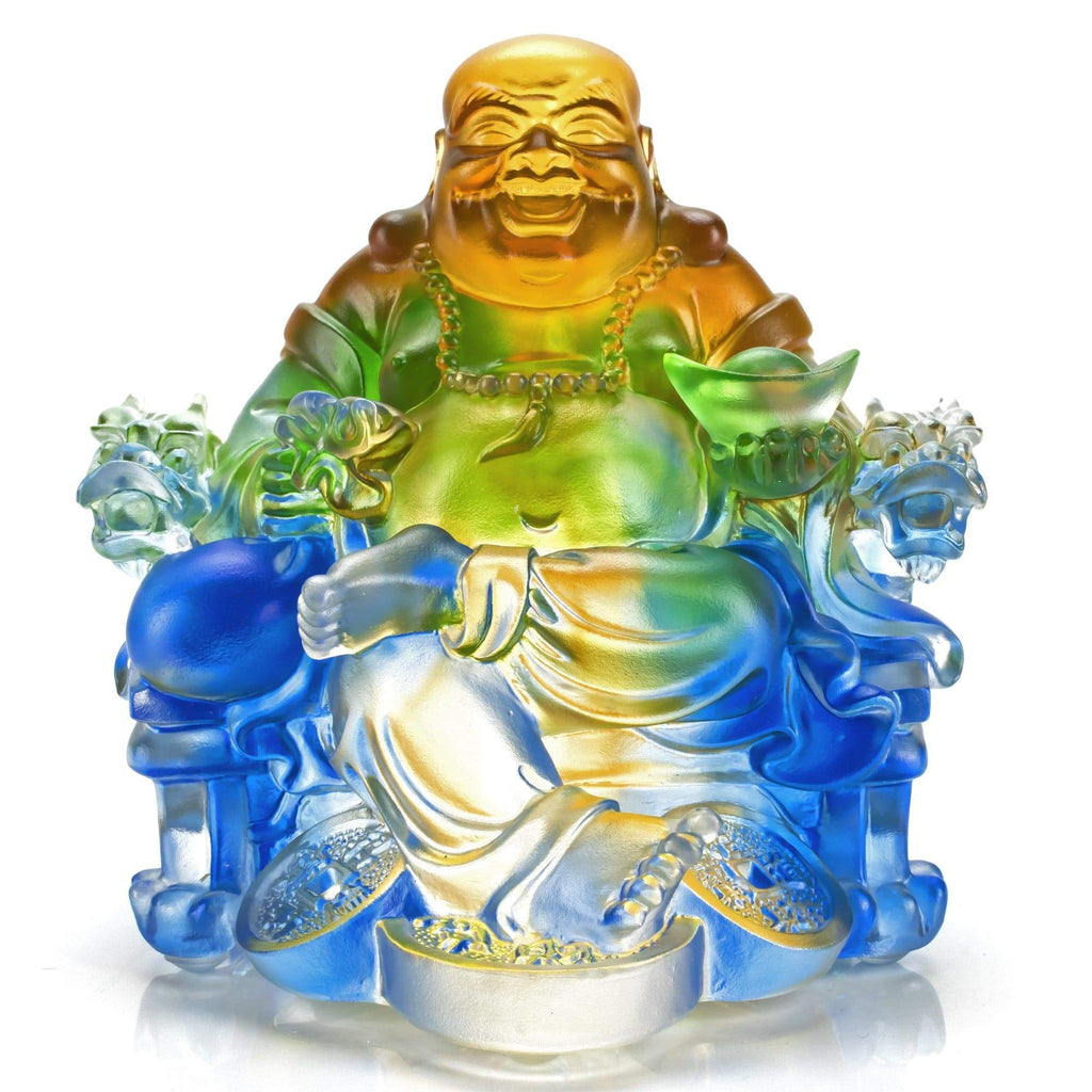 Kalifano Crystal Carving CRYSTAL.017 - Joyful Chubby Buddah Crystal Carving Art (CRYSTAL.096) CRYSTAL.017