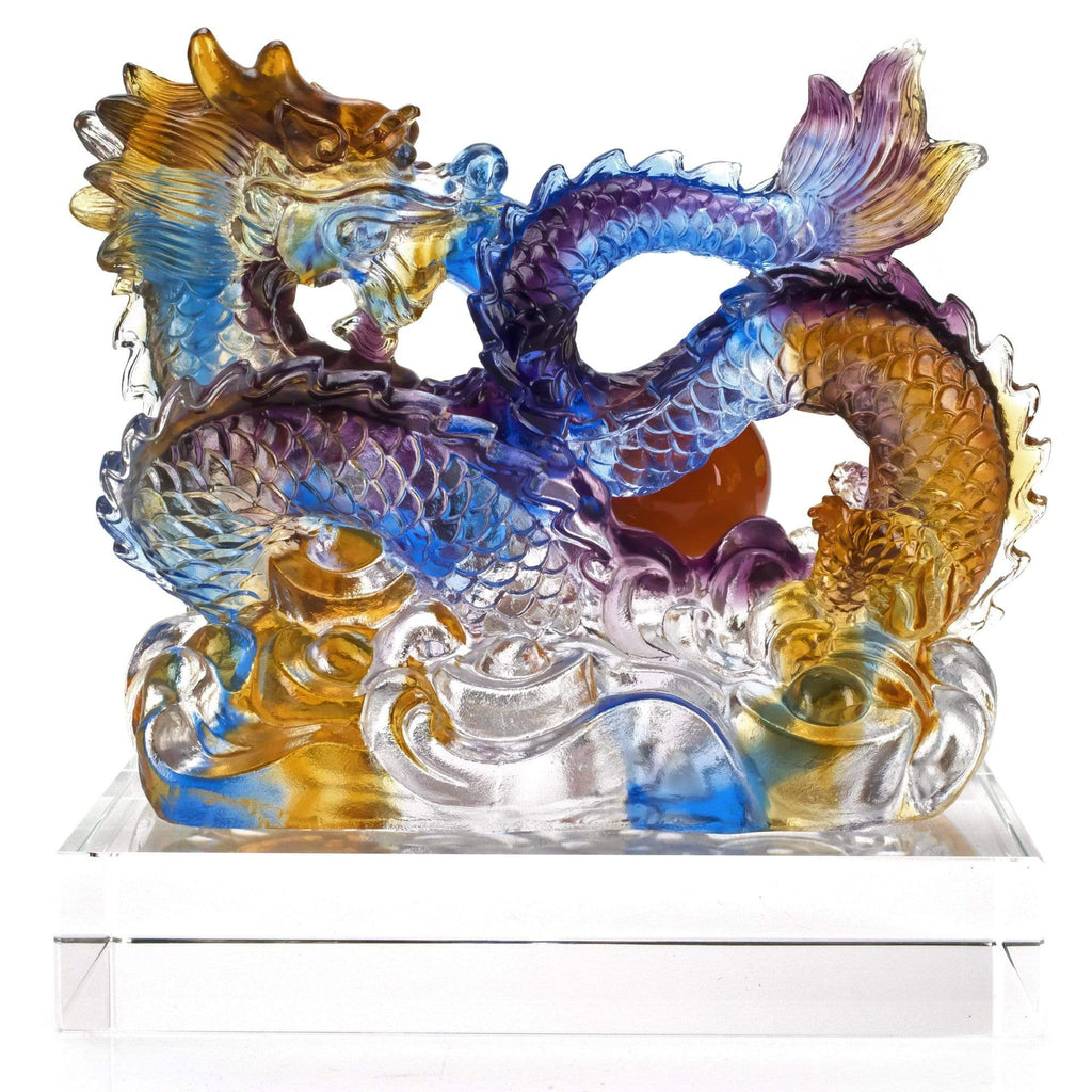 Kalifano Crystal Carving CRYSTAL.019 - Fire Breathing Seawater Dragon Crystal Carving Art CRYSTAL.019