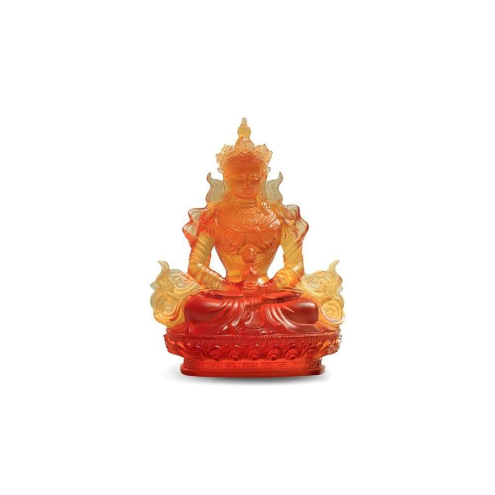 Kalifano Crystal Carving CRYSTAL.045 - Golden Buddah Meditation Position Crystal Carving Art CRYSTAL.045