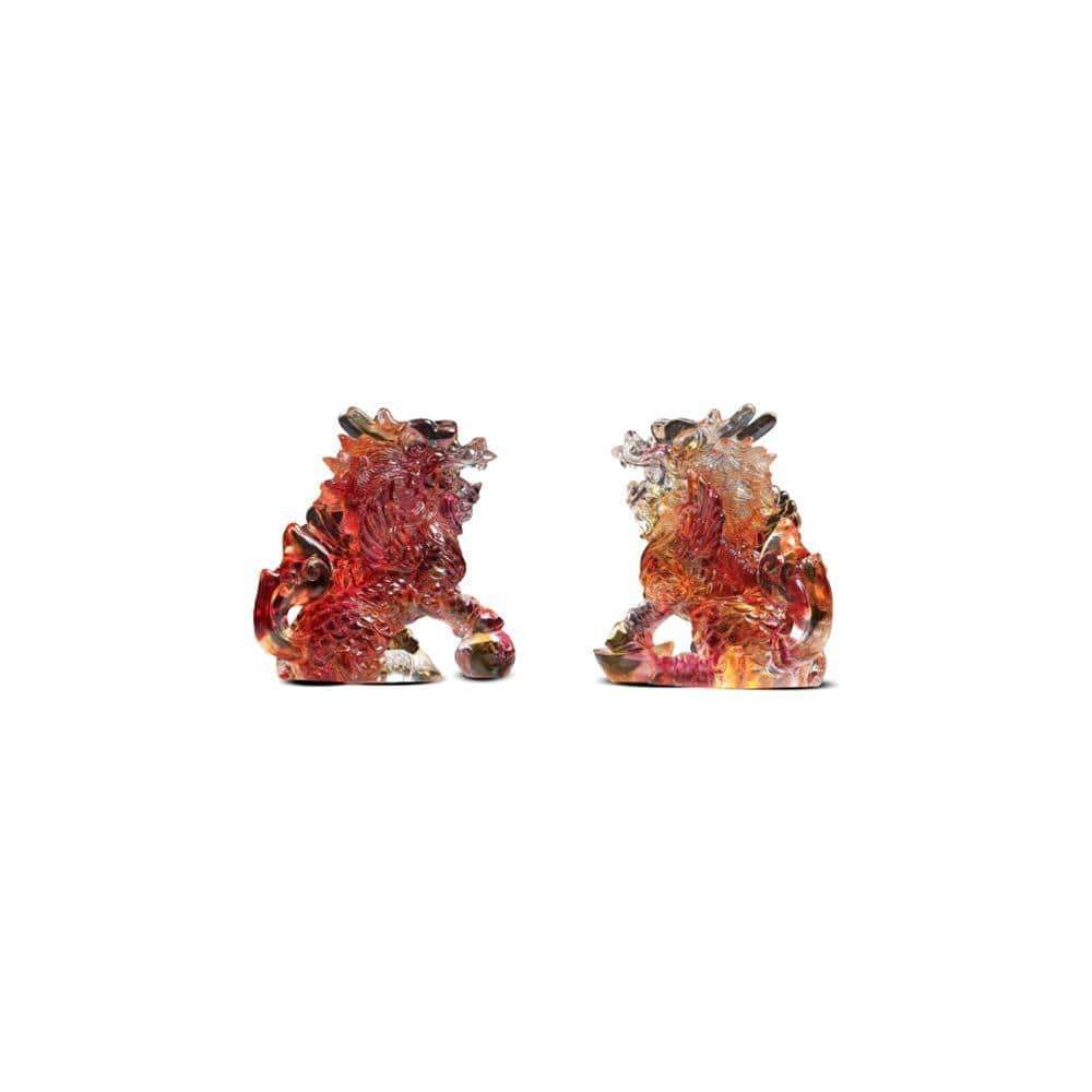 Kalifano Crystal Carving CRYSTAL.070 - Pair of Protective Foo Dogs Crystal Carving  Art *One Of A Kind* CRYSTAL.070