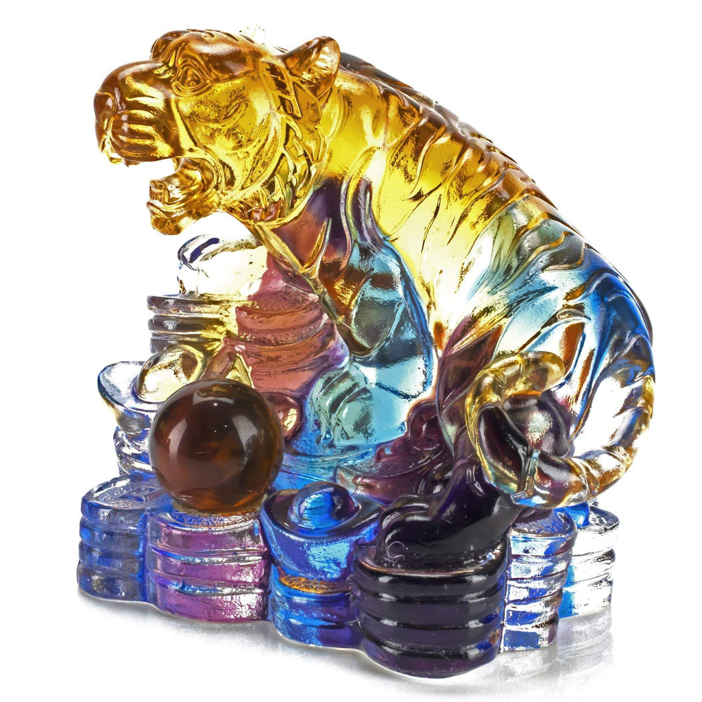 Kalifano Crystal Carving Fierce Tiger Crystal Carving Art CRYSTAL.002