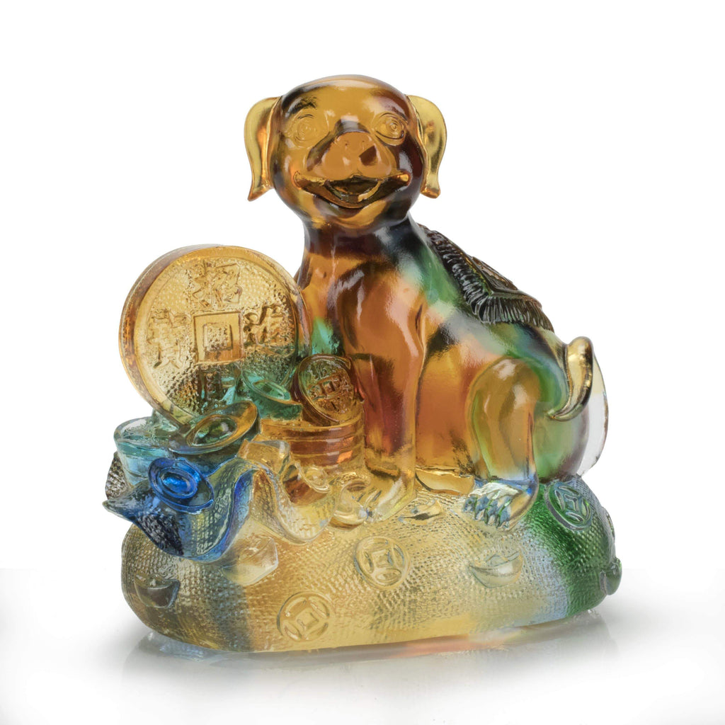 Kalifano Crystal Carving Lucky dog with Coin Crystal Carving Art CRYSTAL.187
