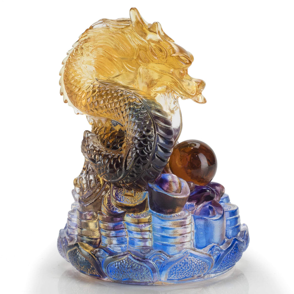 Kalifano Crystal Carving Mountain of Gold Coins - Dragon Crystal Carving Art CRYSTAL.101