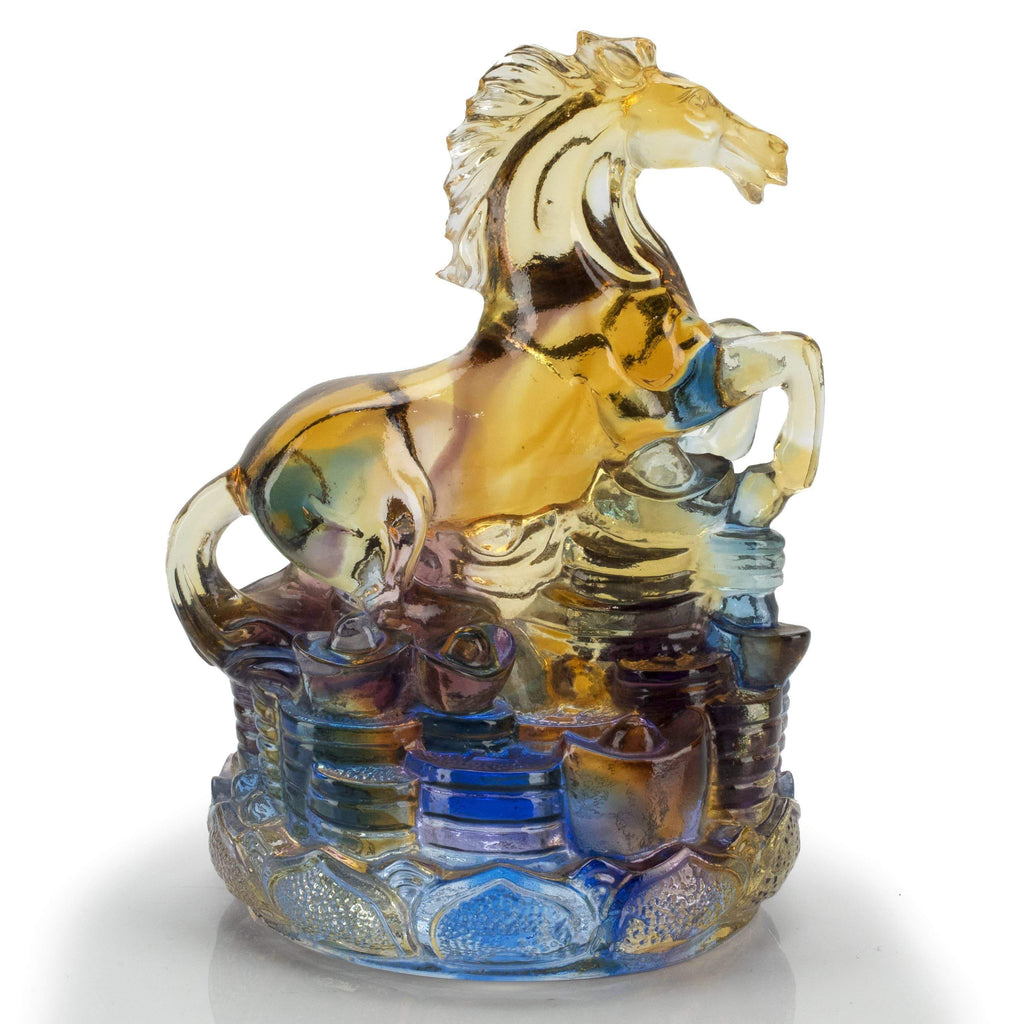 Kalifano Crystal Carving Mountain of Gold Coins - Horse Crystal Carving Art CRYSTAL.100