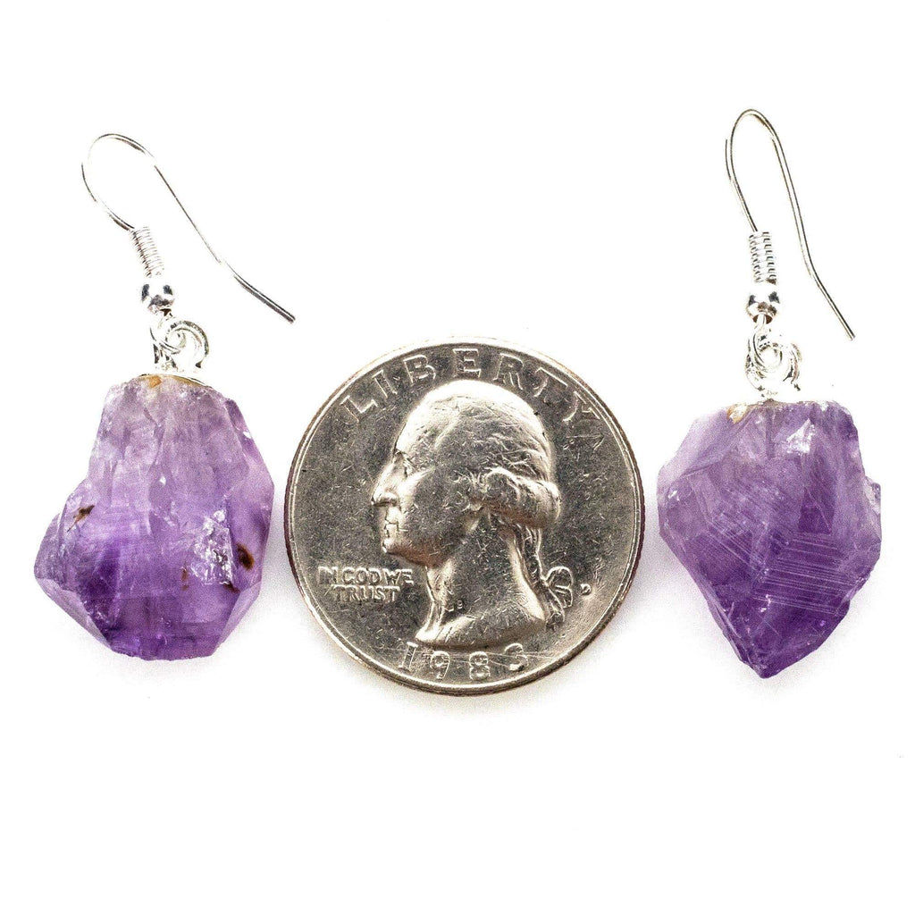Kalifano Crystal Jewelry Natural Amethyst Crystals Healing Point Earrings CJES60-AM