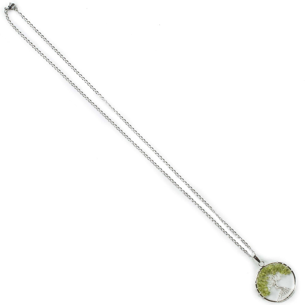 Kalifano Crystal Jewelry Peridot Chakra Gemstone Tree of Life Necklace & Stainless Steel Chain CJCN20-PGR