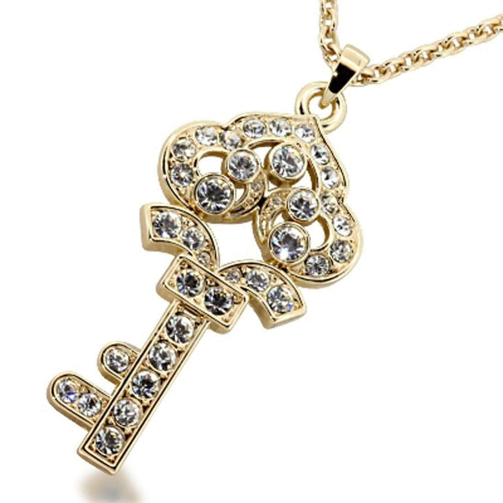 Kalifano Crystal Keychains SN-002 - Gold Crown Necklace made with Swarovski Crystals SN-002