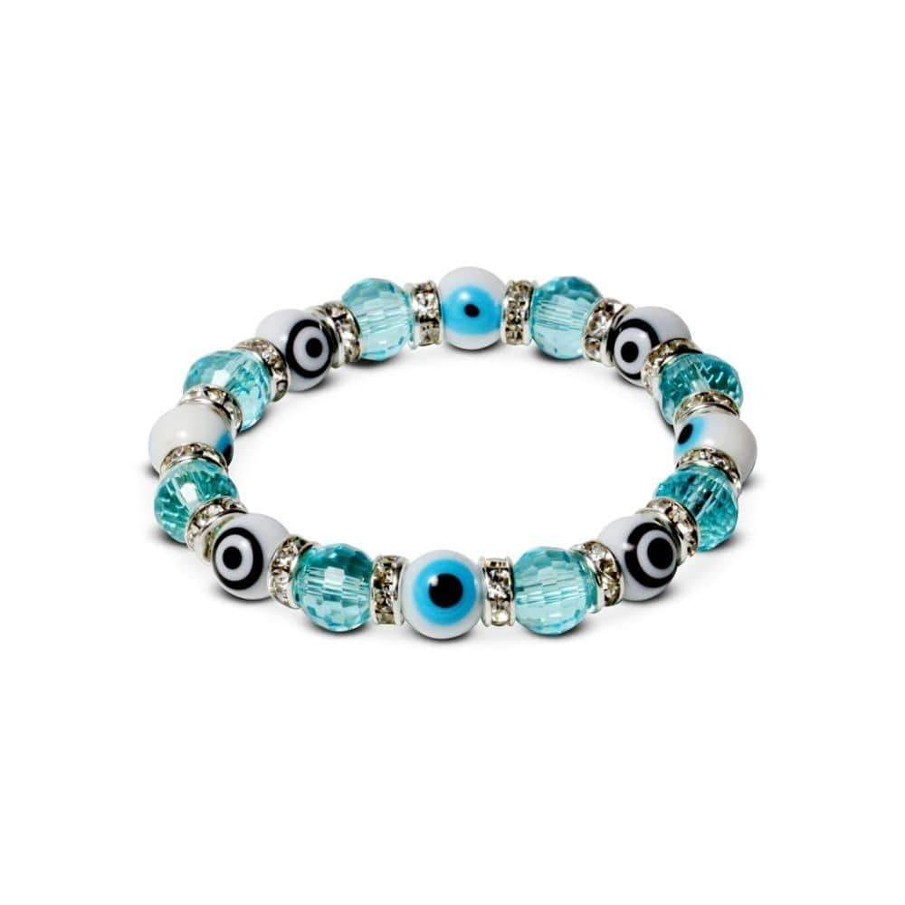 Kalifano Evil Eye Jewelry BLUE-BEE-20 - Evil Eye Gorgeous Glass Bracelets-Turquoise Beads, Black Eyes & White Eyes BLUE-BEE-20